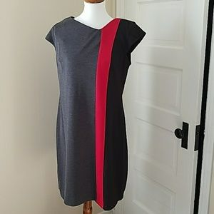 Liz Claiborne ColorBlock Dress Gray Red Black